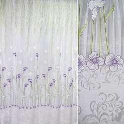 Органза белая с фиолетово-зелеными каллами (купон) ш.270