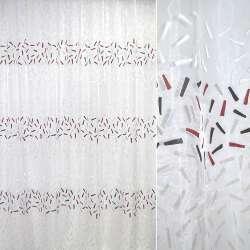 Органза белая с серо-черными полосами ш.270