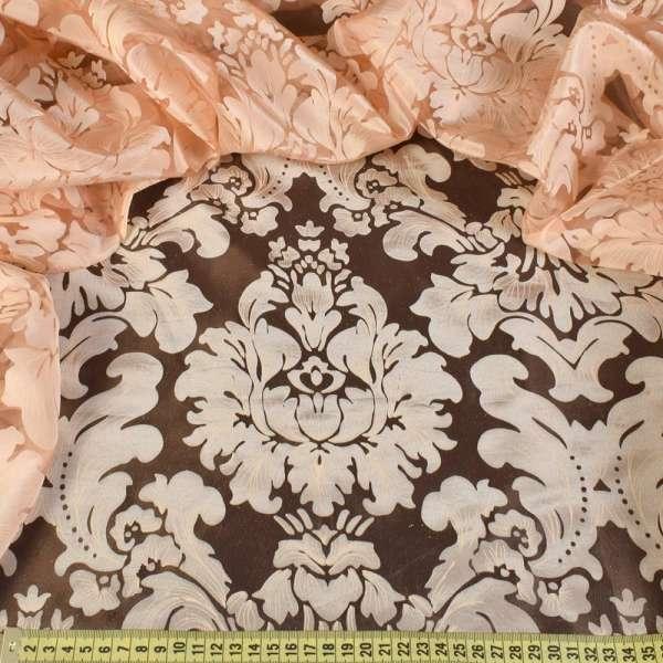 Органза персиковая с вензелями деворе ш.280 оптом