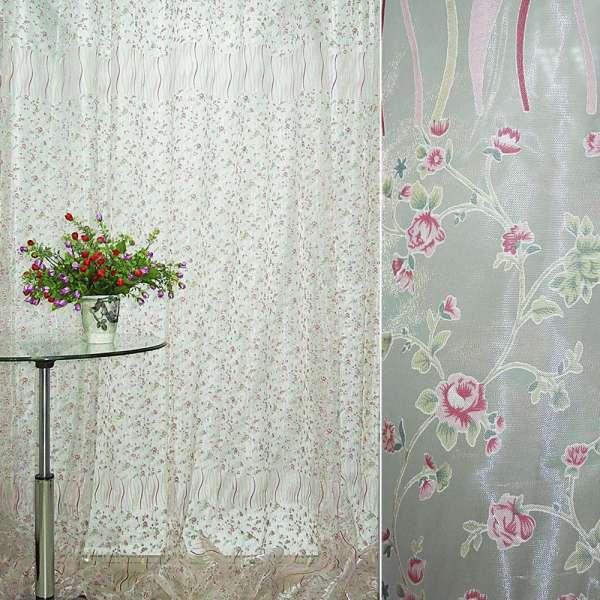Органза деворе белая с мелкими красными цветами и серпантином купон ш.275 оптом