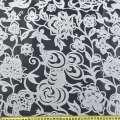Органза деворе белая с густым цветочным рисунком ш.280 оптом