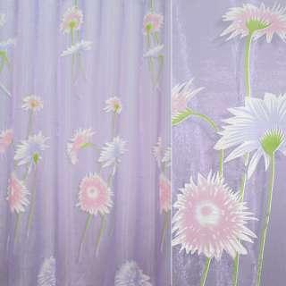 Органза деворе сиреневая с розовыми и фиолетовыми цветами оптом