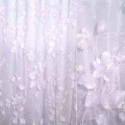 Органза деворе фиолетовая бледная с цветами