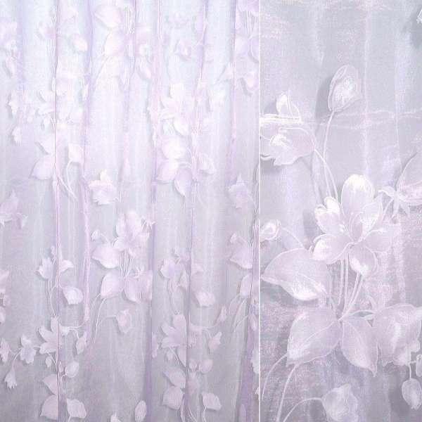 Органза деворе фиолетовая бледная с цветами оптом