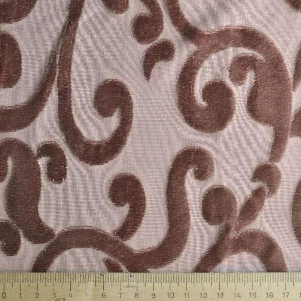 """Велюр гардинный коричнево-молочный с розовым оттенком """"завитки"""" на трикотажной основе ш.285 оптом"""