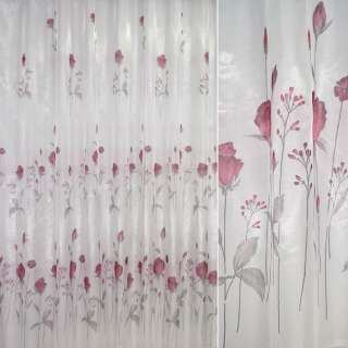 кристаллон белый с вишневыми розами ш.270 оптом