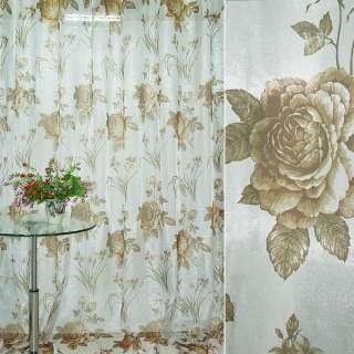 Кристаллон белый с коричневыми розами и букетом цветов ш.270 оптом
