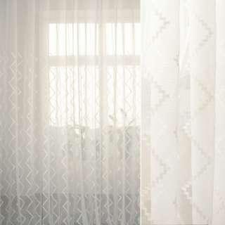 Лен французский белый с вышитыми белыми зигзагами ш.280 оптом
