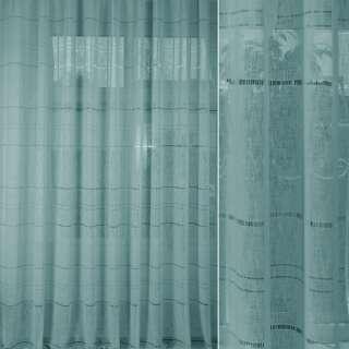 Лен гардинный с мережкой бирюзовый, ш.300 оптом
