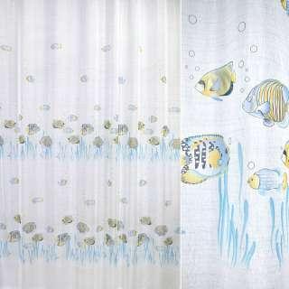 лен француз. белый с голубыми рыбками ш.270 оптом
