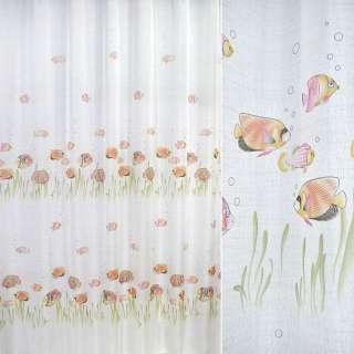 лен француз. белый с розовыми рыбками ш.270 оптом