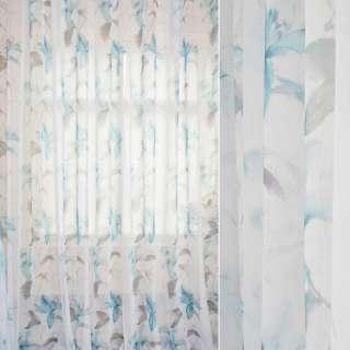 Лен французский белый в акварельные голубые лилии, серые листья, ш.280 оптом
