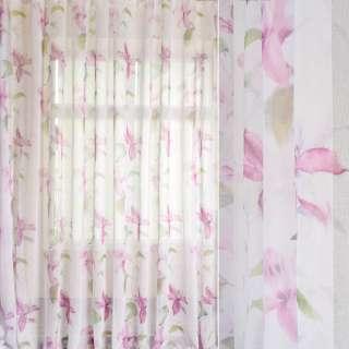 Лен французский белый в акварельные розовые лилии, зеленые листья, ш.280 оптом