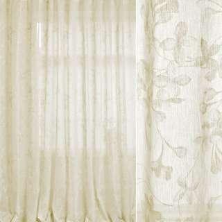 Лен гардинный белый, оливково-белые цветы, ш.280 оптом