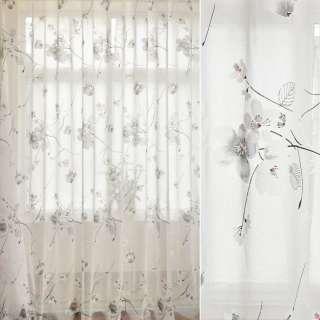 Лен гардинный деворе белый, цветы сакуры, ш.280 оптом