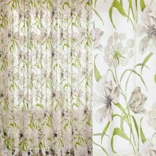 Лен гардинный деворе белый, зелено-серо-белые лилии, ш.280 оптом