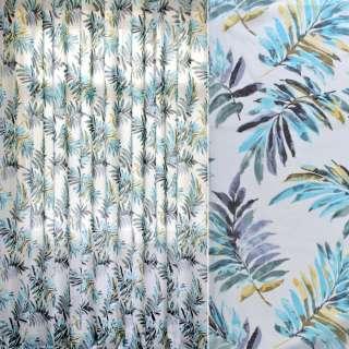 Лен гардинный деворе белый, бирюзово-серо-желтые листья, ш.280 оптом