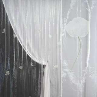 Органза  белая  с  росп.  крупне  цветы оптом
