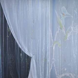 органза наб.голубая с голубыми высок.цветами и люрексо оптом