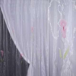 органза сиреневая с розовым высоким цветком оптом