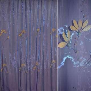 органза набив.фиолет.с абрикос.высок.цветами оптом