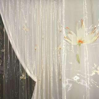 органза желтая с белым крупн.цветком и блестками оптом