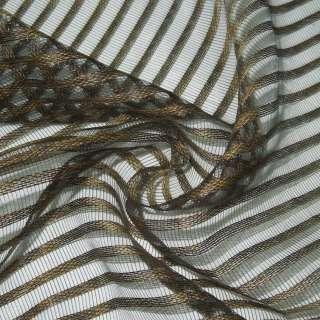 Органза-сетка коричневая в полоску ш.280 оптом
