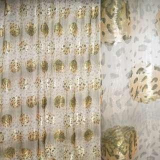 "органза бежево-зеленая ""леопард""+цветы ш.280 см. оптом"