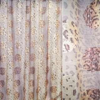 """органза св.коричн. """"леопард"""" и сереб.-роз. цветы ш.280 оптом"""