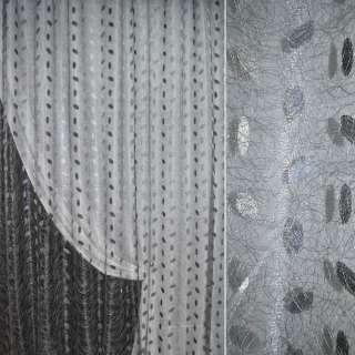 Органза орарі сіра світла з вишивкою павутинка ш.270 оптом