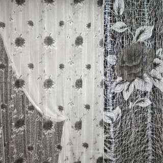 Паутинка гардинная ажурная с серыми розами ш.280 оптом