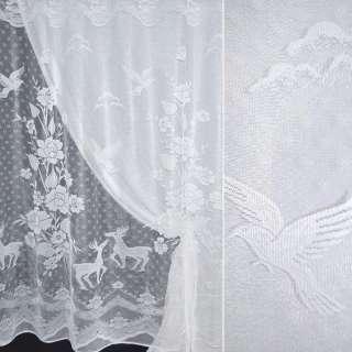 Сетка жаккардовая белая с крупными цветами и оленями ш.190 оптом