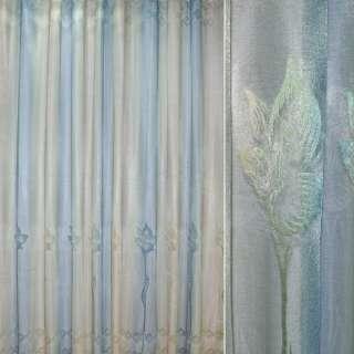 Сетка жаккардовая радуга оливково-сизая с высокими цветами оптом