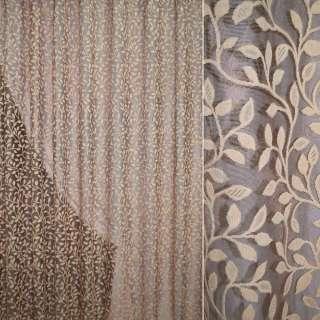Сетка жаккардовая коричневая светлая с светло-бежевыми листьями ш.280 оптом