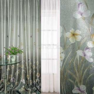 блэкаут серебристо-бирюзовый с цветами и полосами (купон) ш.270 оптом