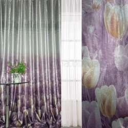 Блэкаут серебристо-фиолетовый с тюльпанами и полосами (купон) ш.270 оптом