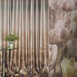 блэкаут розово-коричневый с тюльпанами и полосами (купон) ш.270 оптом