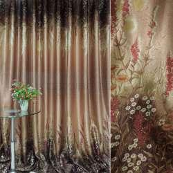 Блэкаут терракотово-коричневый с цветами (купон) ш.270 оптом