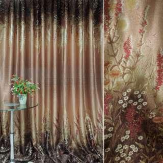 блэкаут терракотово-коричнев. с цветами (купон) ш.270 оптом