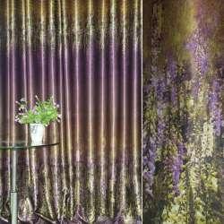 Блэкаут золотисто-сиреневый с цветами и полосами (купон) ш.270 оптом