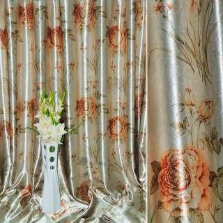 Блэкаут серый светлый с золотисто-рыжими розами и букетами цветов ш.275 оптом