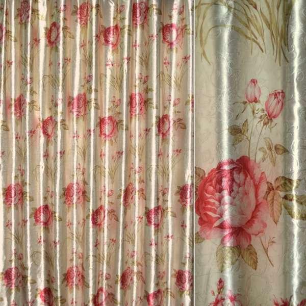 Блэкаут серый светлый с красными розами и букетами цветов ш.275 оптом