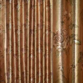 Блэкаут золото с св/корич.розами и букет.цвет ш.275 оптом