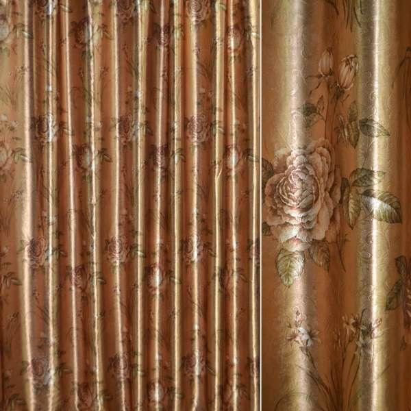 Блэкаут золото с светло-коричневыми розами и букетами цветов ш.275 оптом