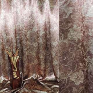Блэкаут коричнево-рыжий с декор. тюльпанами ш.275 оптом