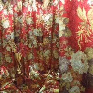 Блэкаут красный в желтые цветы ш.275 оптом