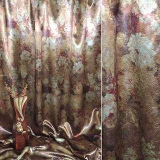 Блэкаут темное золото с  цветами ш.275 оптом