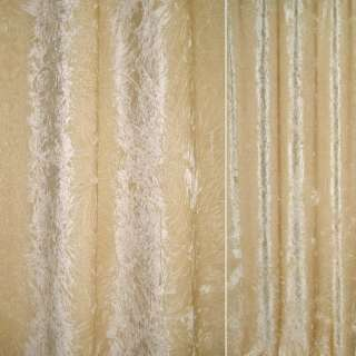 Велюр портьерный жатый бежево-золотистый ш.140 оптом