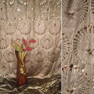 Вельбоа портьерный коричневый фейерверк (штамп) ш.155 оптом