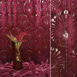 Вельбоа портьерный бордовый фейерверк (штамп) ш.155